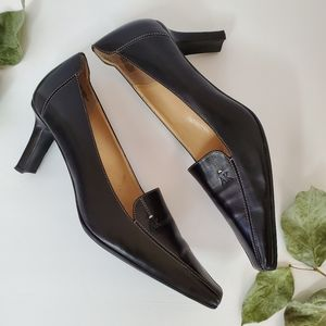 Anne Klein Black Leather Square Toe Pumps
